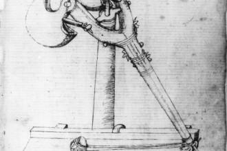 Disegno quattrocentesco di brichola (da Mariano di Jacopo Taccola, Liber Tertius de ingeneis ac edifitiis non usitatis, 1433 - Firenze, Biblioteca Nazionale